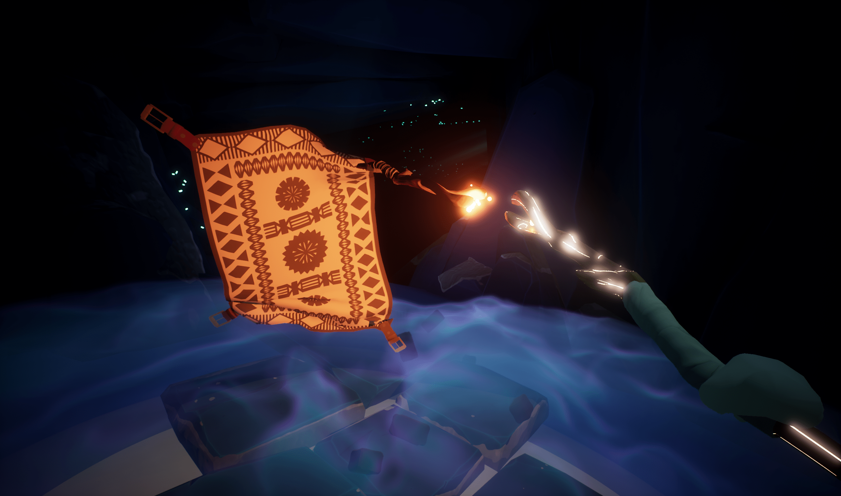 Screenshot of magic carpet interactions in S1T2's Beyond the Stars virtual reality experience