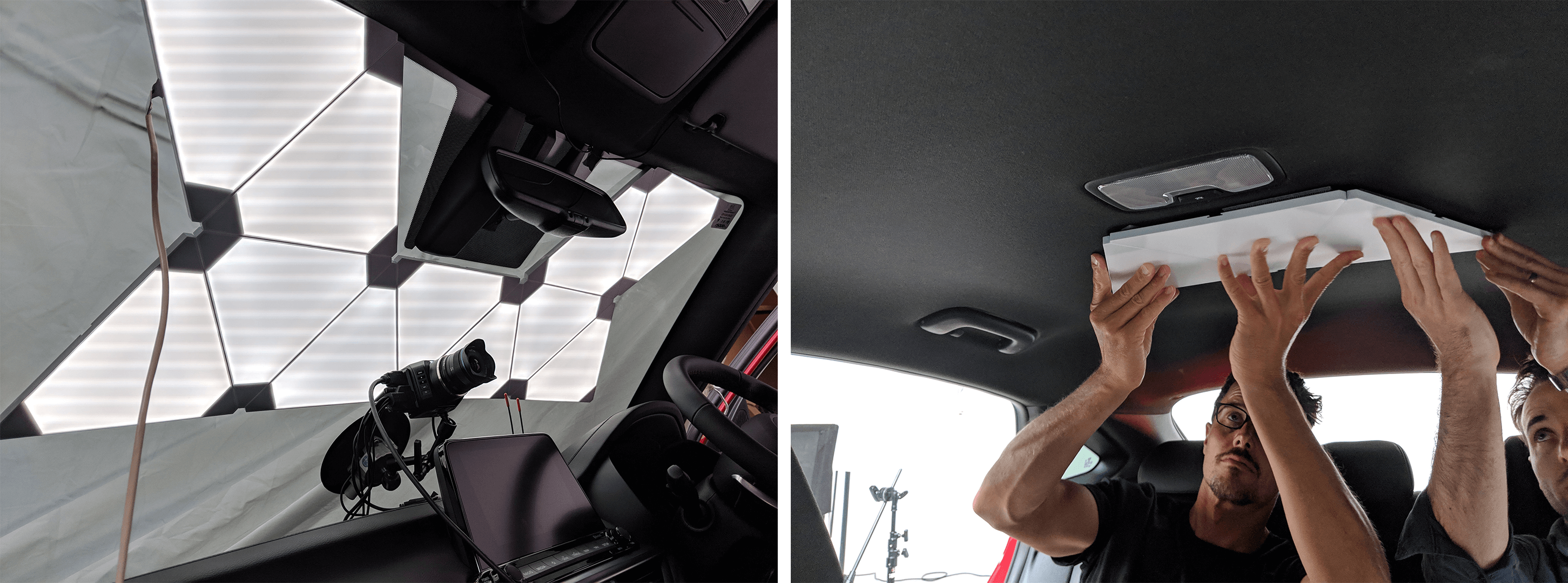 Attaching Nanoleaf lighting panels to a Kia car
