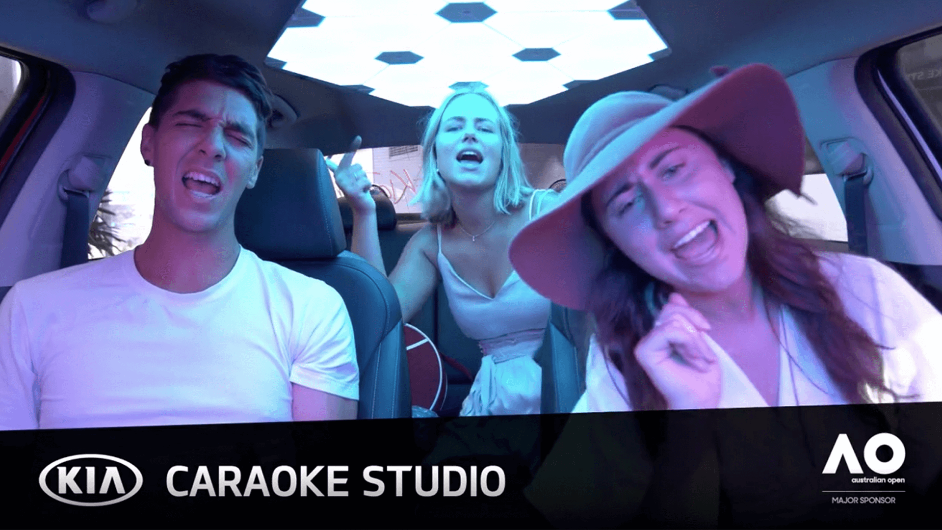 Screenshot from the in-car experience of Kia Caraoke Studio