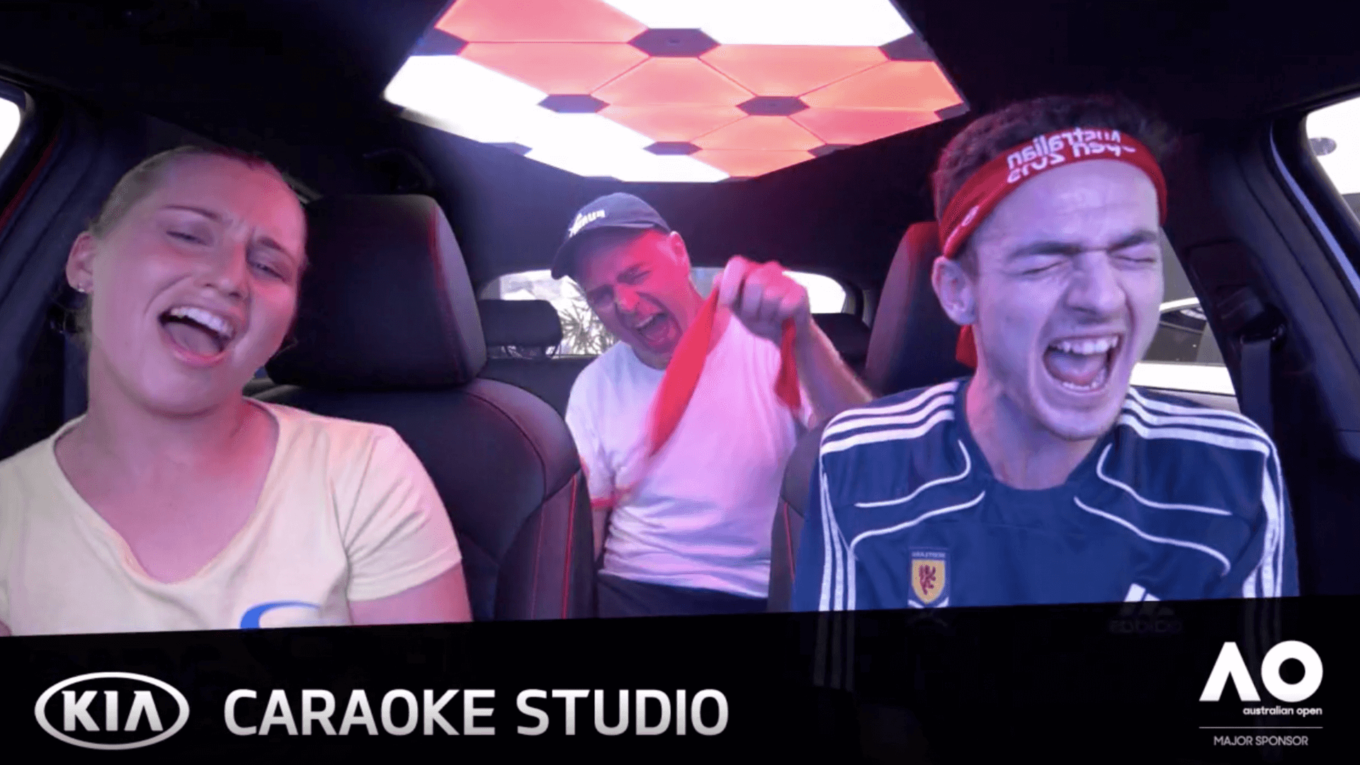 Screenshot of in-car experience at Kia Caraoke Studio