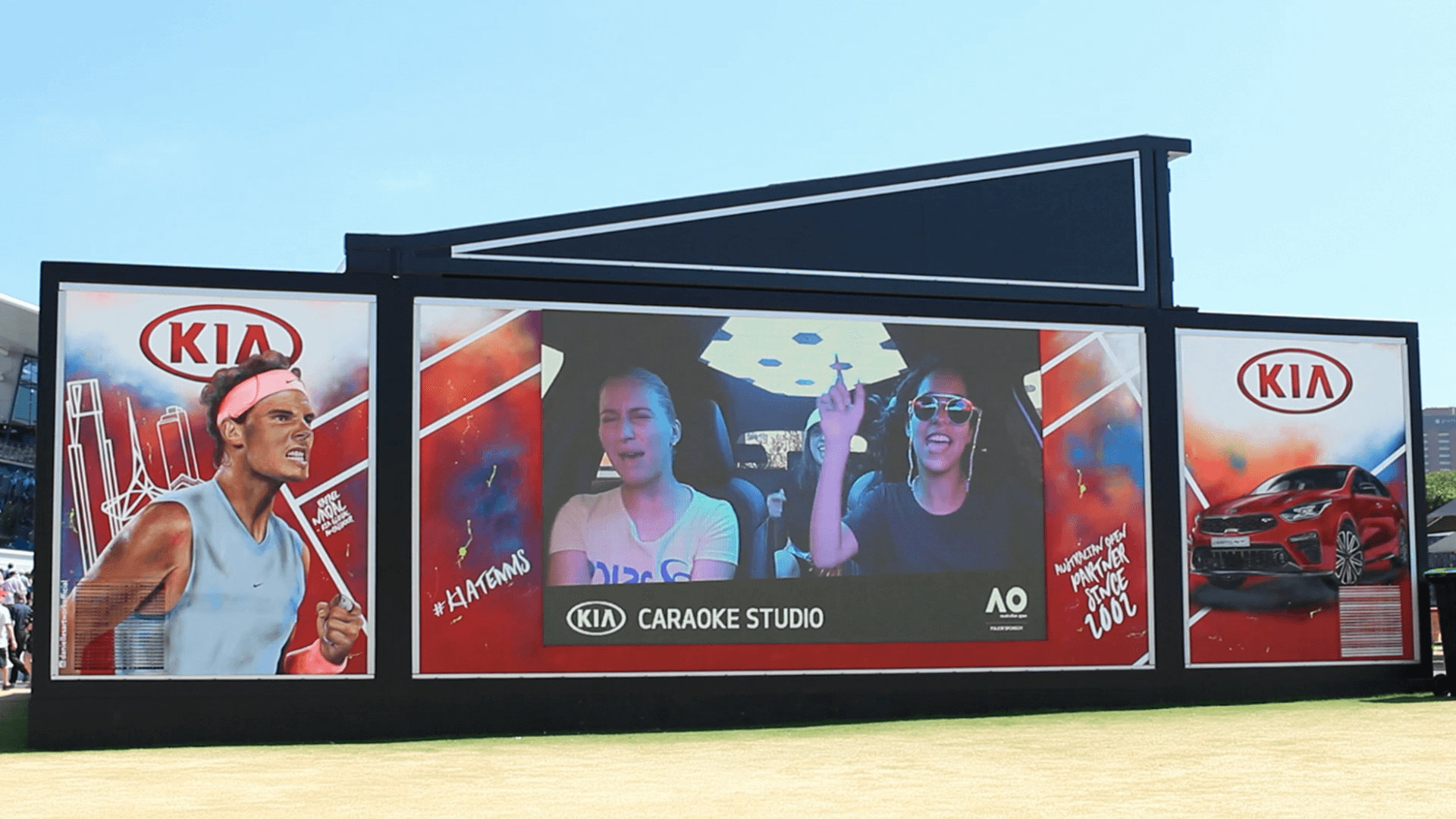 Outdoor screen for Kia Caraoke at Australian Open