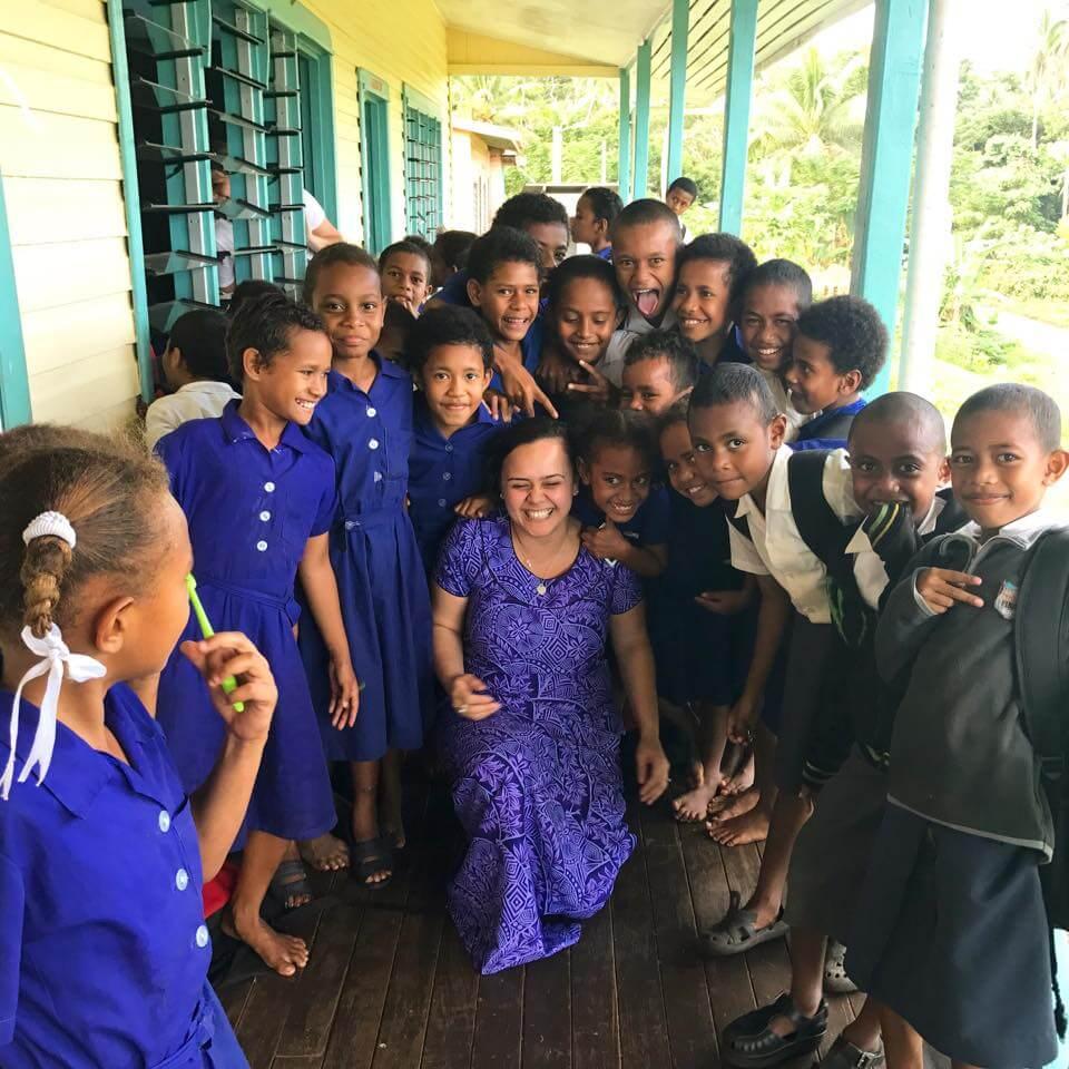 Arieta Rika with school children in Vanua Levu, Fiji