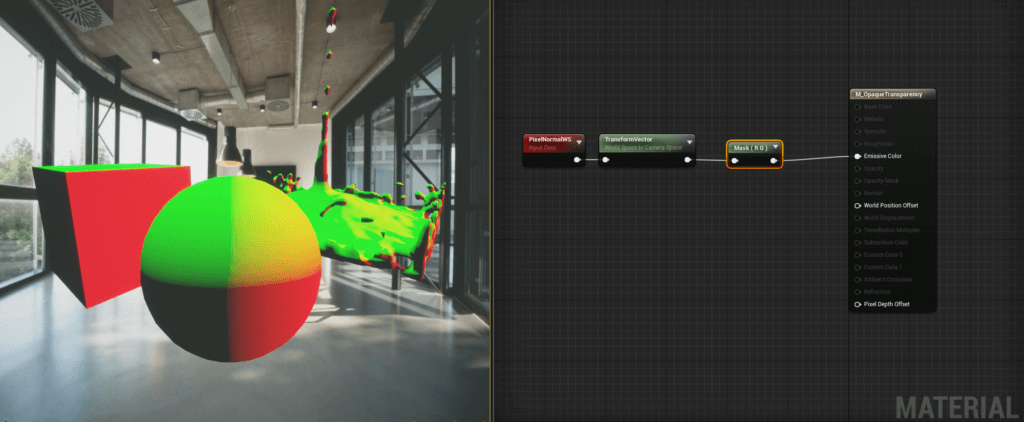 Screenshot of negative colour surface normals in UE4