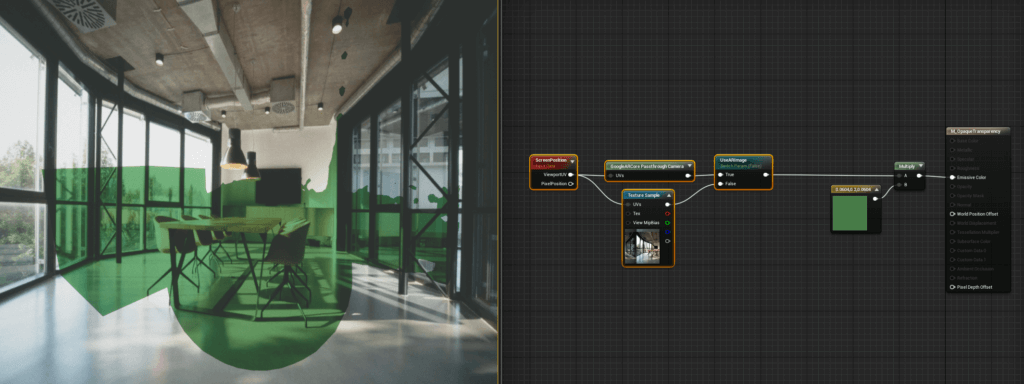 Screenshot of test scene of AR transparency in Unreal Engine