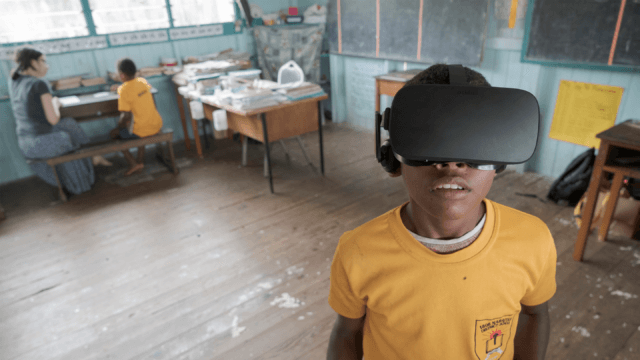 Fijian child experiences Beyond the Stars VR in a classroom in Viti Levu, Fiji.