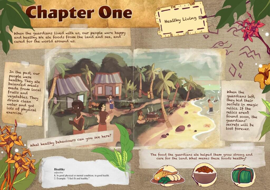 Page illustrations of Pacific Island from the Beyond the Stars storybook