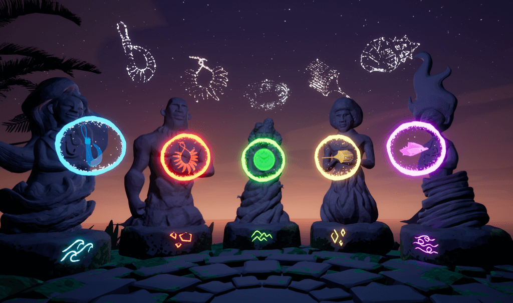 Pacific Island inspired guardian statues in the Beyond the Stars VR game