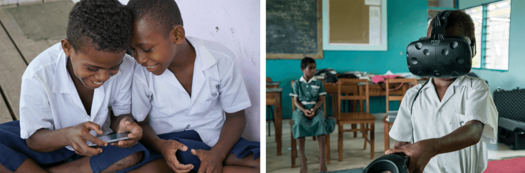 Children in Fijian schools play the Beyond the Stars VR and mobile games