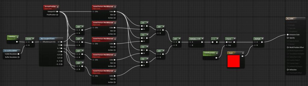 Node setup for a 4 sample sobel in Unreal Engine