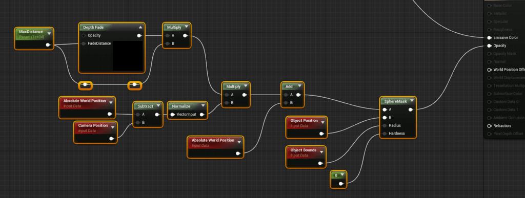 Sphere mask node setup in UE4