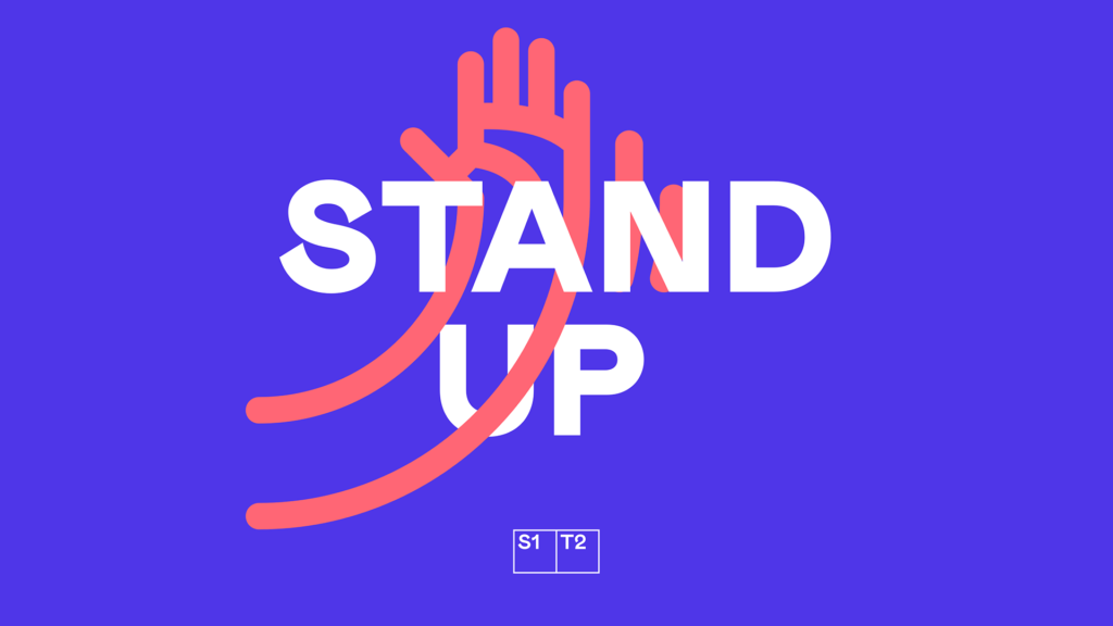"Pink hand icon outline on purple background with text ""Stand Up"""