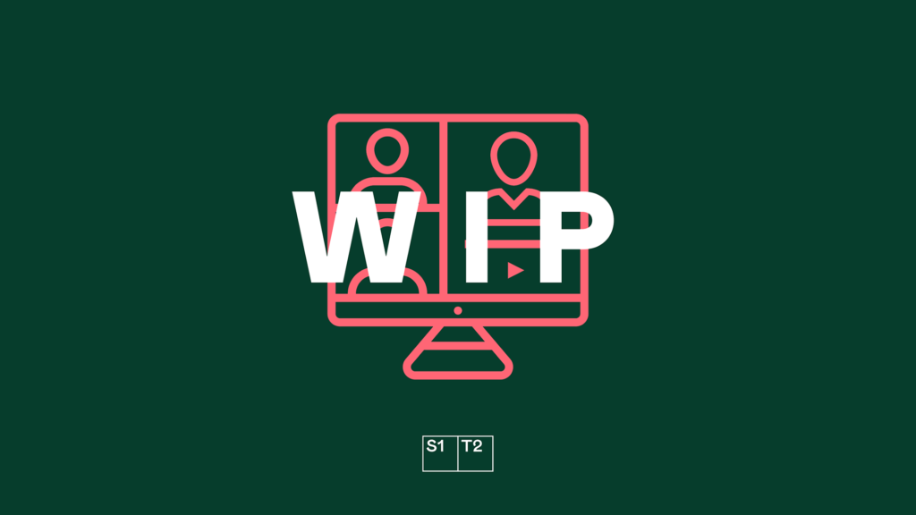 "Pink video call icon on green background with ""WIP"" text"
