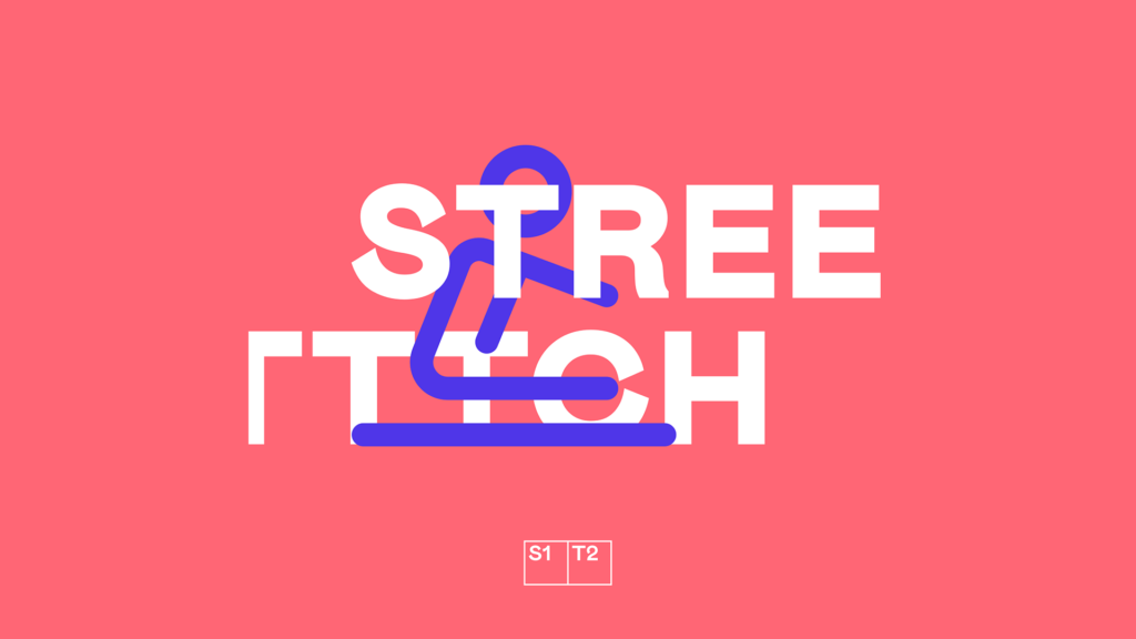 "Purple icon of person stretching on pink background with ""Streetttch"" text"