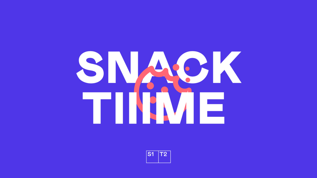 "Pink half-eaten cookie icon on purple background with ""Snack Tiiime"" text"