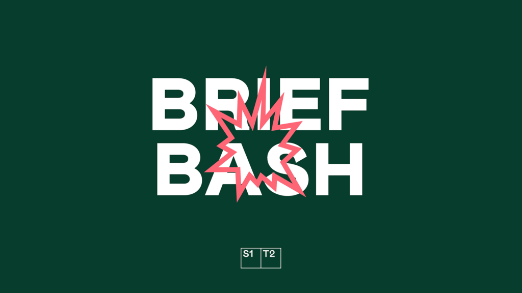 "Pink explosion icon on green background with ""Brief Bash"" text"
