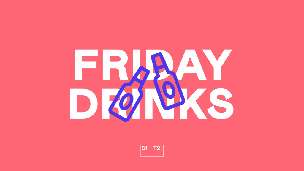 "Purple icon of two beer bottles cheers on pink background with ""Friday Drinks"" text"