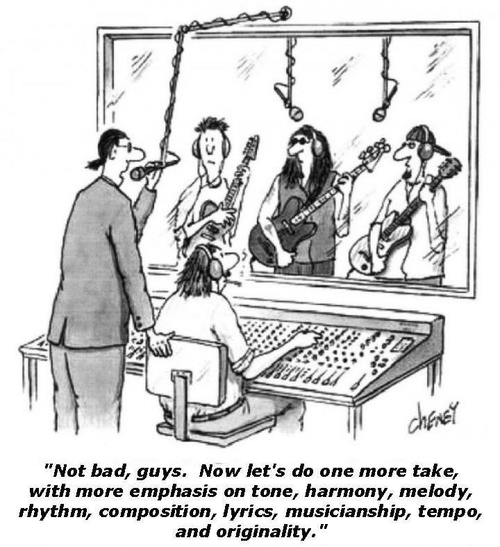 Black and white cartoon shows rock band in recording studio.