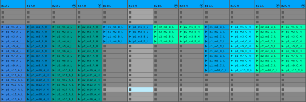 Music components composed in Ableton Live for use in interactive audio of Kia Beat the Beat.