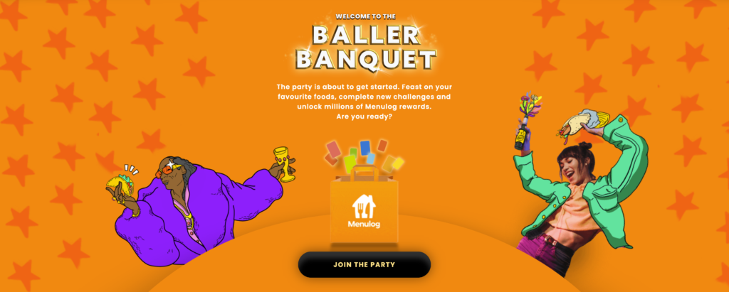 Introduction page for the Menulog Baller Banquet gamified loyalty program