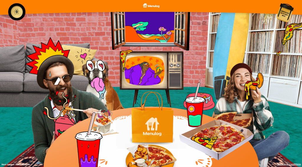 Pizza party scene from the Snoop TVC inspired Menulog Baller Banquet