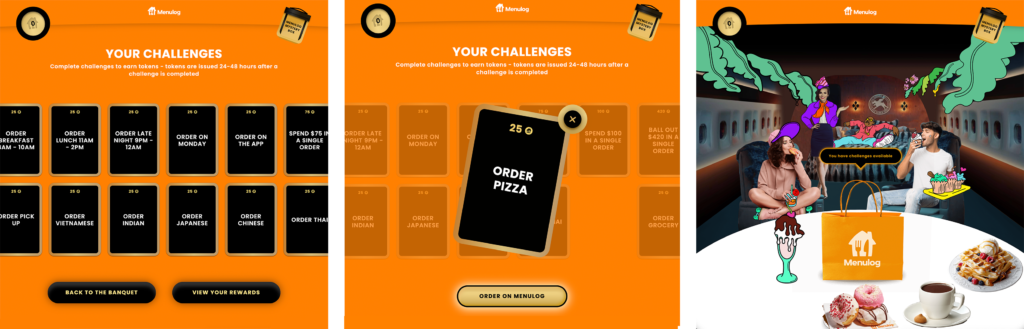 Challenge card mobile game UI from the Menulog Baller Banquet gamification experience