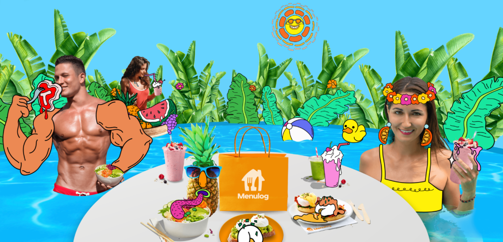 Doodle-style illustrations in the pool party scene of the Menulog Baller Banquet campaign